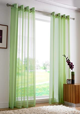 Green Curtains amazon green curtains : PLAIN EYELET VOILE Net Curtains - Ring Top Ready Made Voile ...