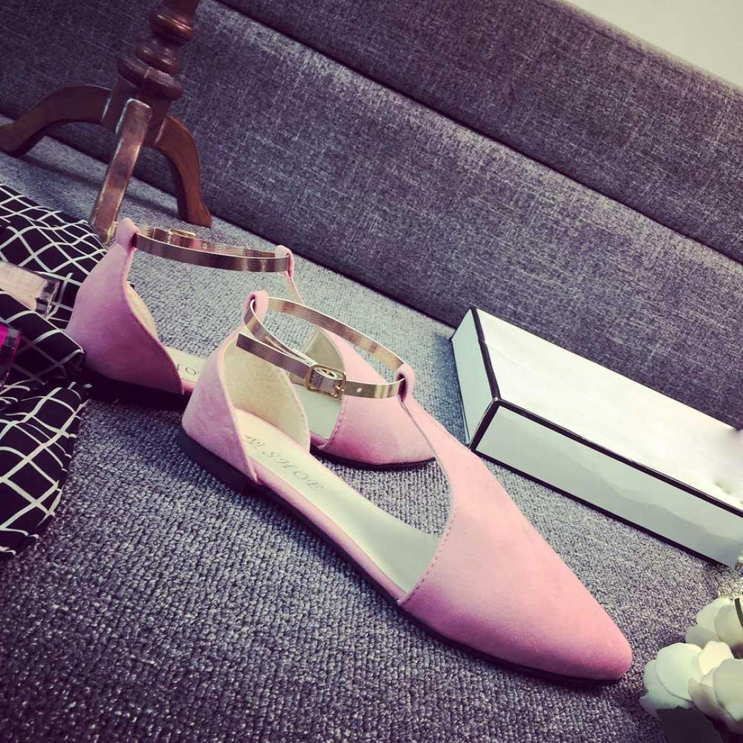 UPLOTER Sandals, Fashion Women Shoes Pointed Toe Slip-On Flat Shoes Comfortable Flats Sandals B071RMY9MQ 7.5 B(M) US|Pink