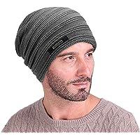 EINSKEY Beanie Herren Winter Warm Beany Mütze Skull Cap Strickmütze Schwarz & Grau für Sport, Chemo, Krebs