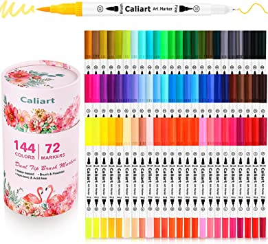 Caliart 72 Dual Brush Pens Art Markers, Artist Fine & Brush Tip Pen Coloring Markers for Adult Coloring Book Journaling Note Taking Lettering Calligraphy Kids Drawing Pens Kit Art Craft Supplies