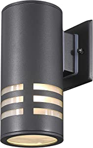 TENGXIN Outdoor Wall Sconce,Up/Down Porch Light,Stainless Steel 304 and Toughened Glass,Black Finished,E27,UL Listed,8.7 Inch Height.