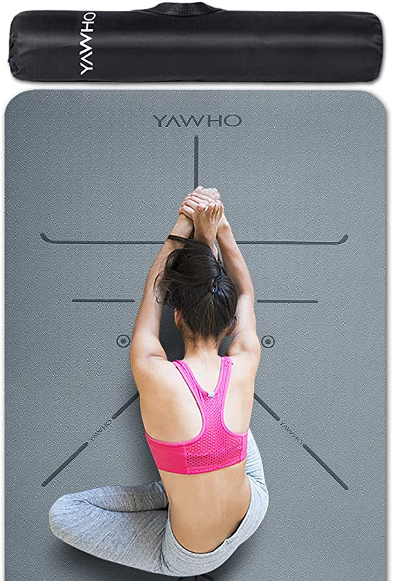 YAWHO Yoga Mat Eco Friendly Material SGS Certified Ingredients TPE Specifications 183 cm X 66 cm Thickness 6 mm Non-Slip Extra Large Fitness Mat with Carry Bag