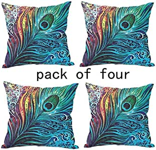 WUWE Beautiful Peacock Tail Personalized Square Cotton Blend Linen PillowCase Decor Cushion Covers 18x18 Inch (PACK of Four)