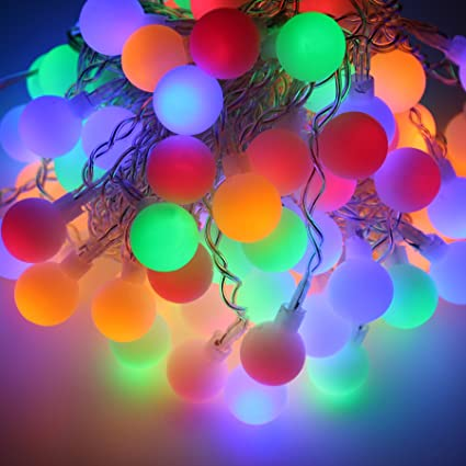 Festival Holiday Hanging Tree Lights Indoor Outdoor String Lights 104 Bulbs  2M 6ft Ball String Lights