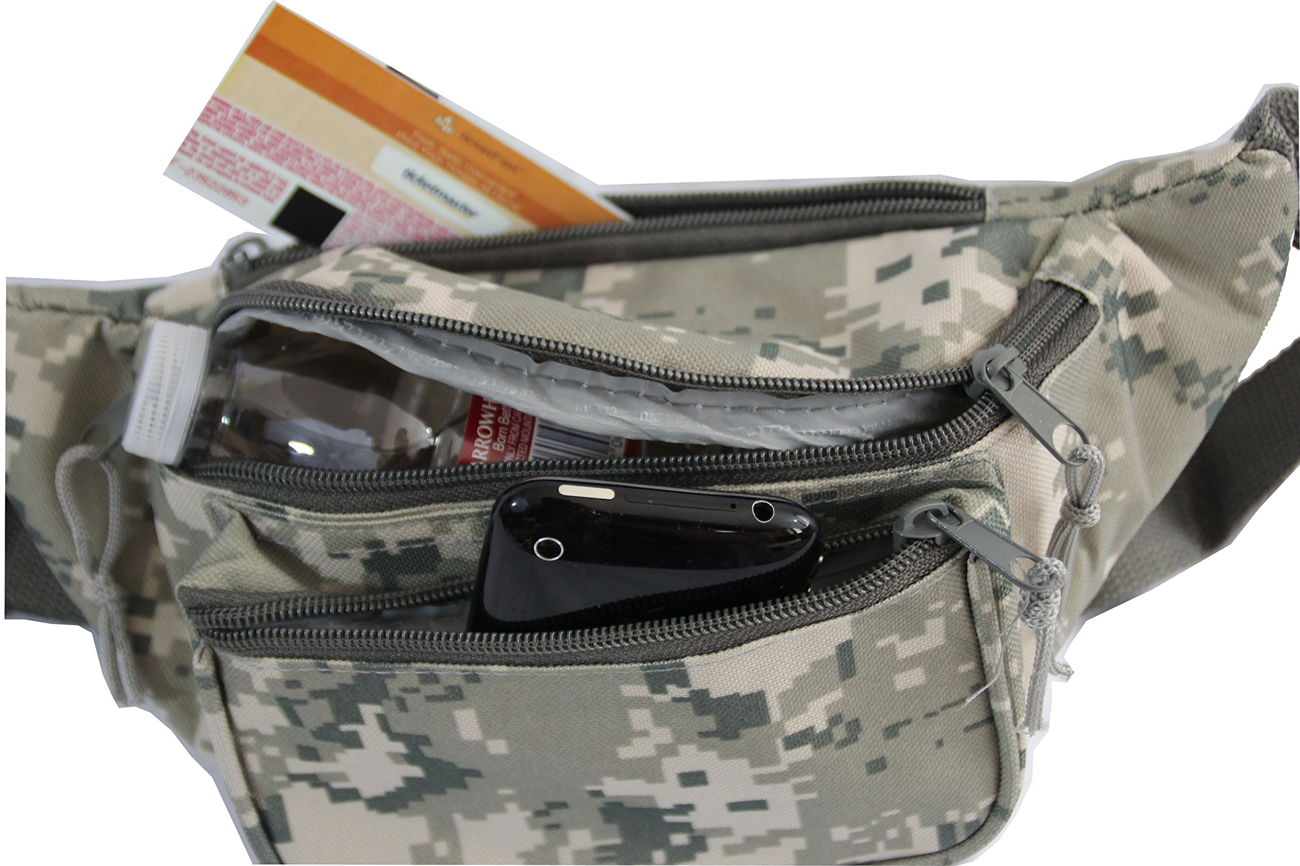 Xtitix Military Tan Digital Camouflage 3 zipper pocket Fanny pack Waist Bag Camo by Xtitix (Image #3)