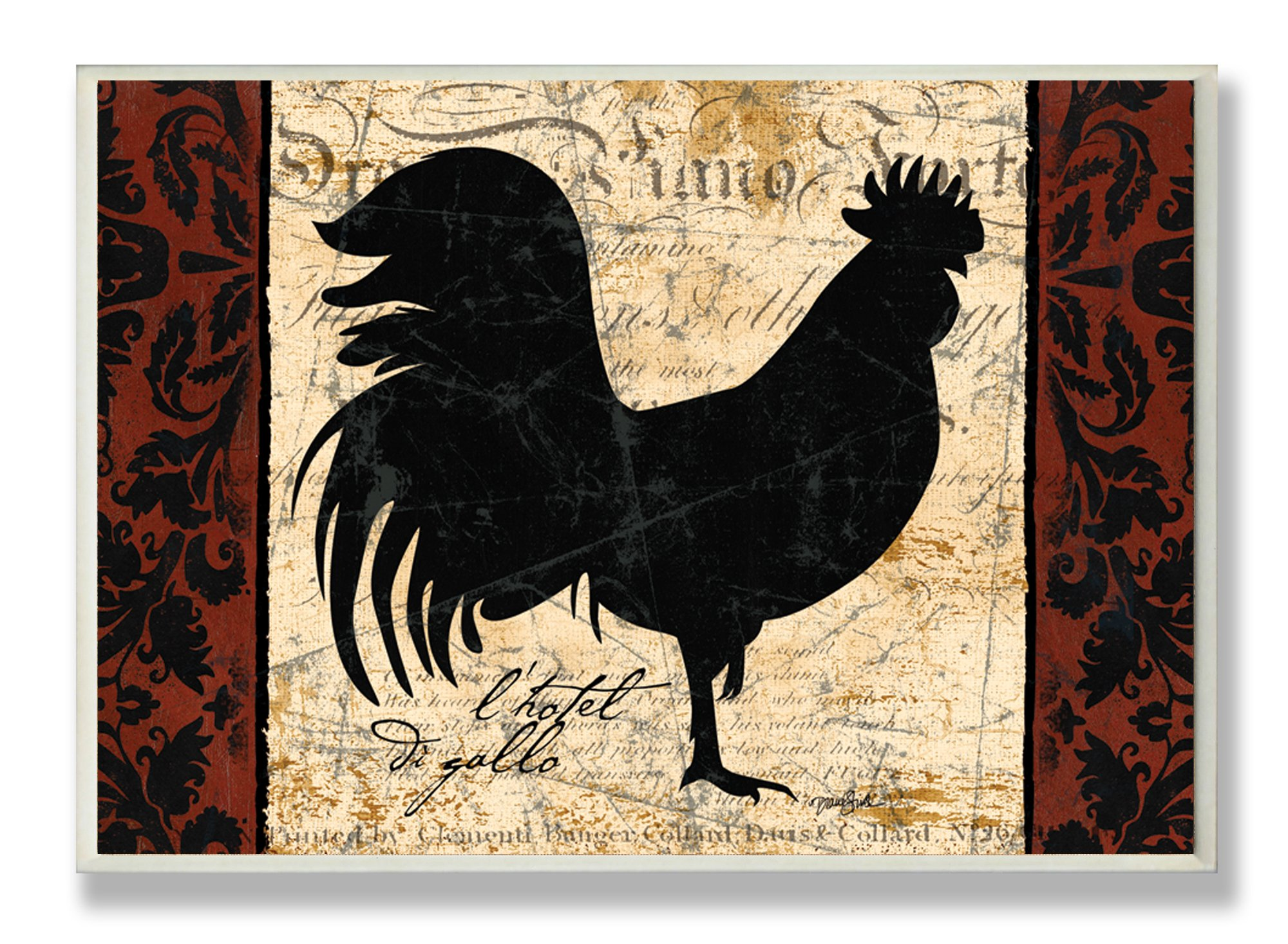 Stupell Home Décor Rooster L'Hotel Kitchen Wall Plaque, 10 x 0.5 x 15, Proudly Made in USA
