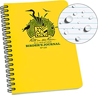 """product image for Rite in the Rain All Weather Spiral Notebook, 4 5/8"""" x 7"""", Yellow Cover, Birders Journal (No. 195)"""