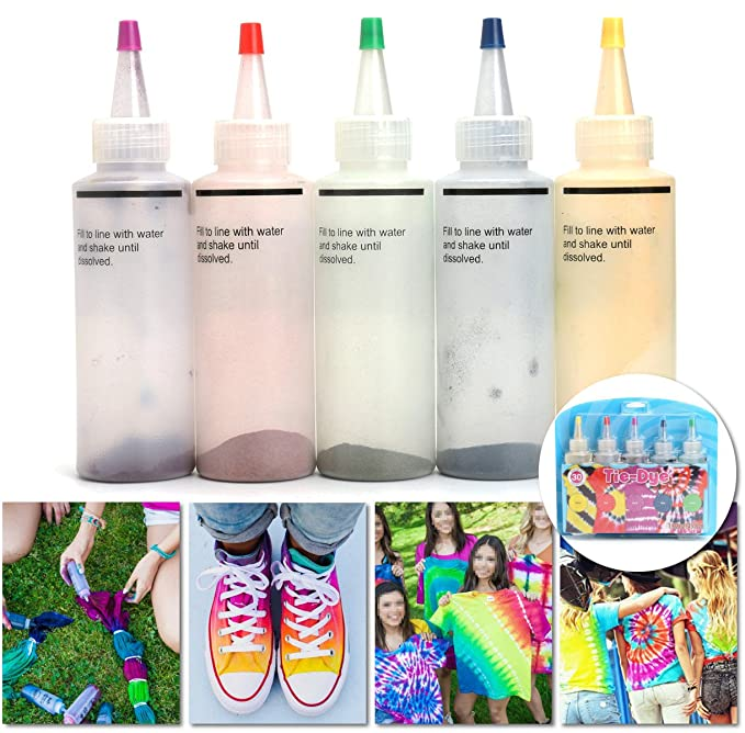 Essort Tie-Dye Kit, Disfraz para Niño, Tela Pinturas Tie Dye Kit Permanente Pintura Colores Vibrantes Tela, Juego de teñido Anudado para Fiesta One-Step, ...