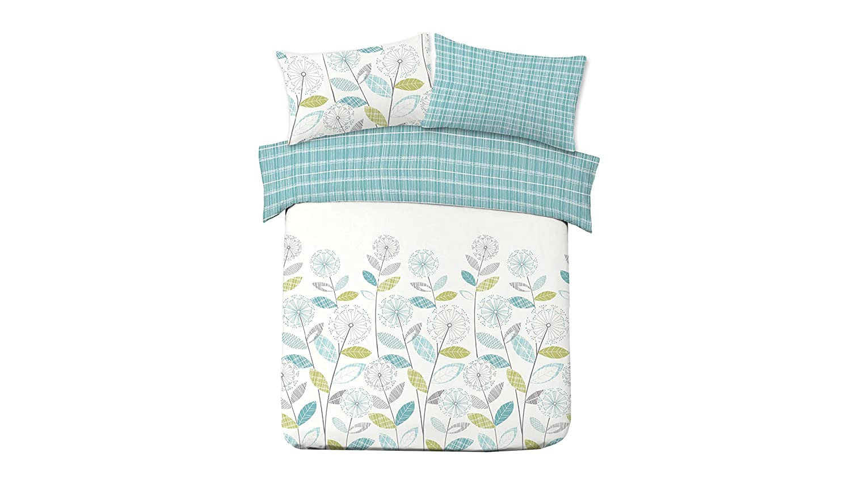 Dreamscene Luxurious Allium Duvet Set with Pillowcase, Polyester/Cotton, Grey, Double ALLIUMGRGY02