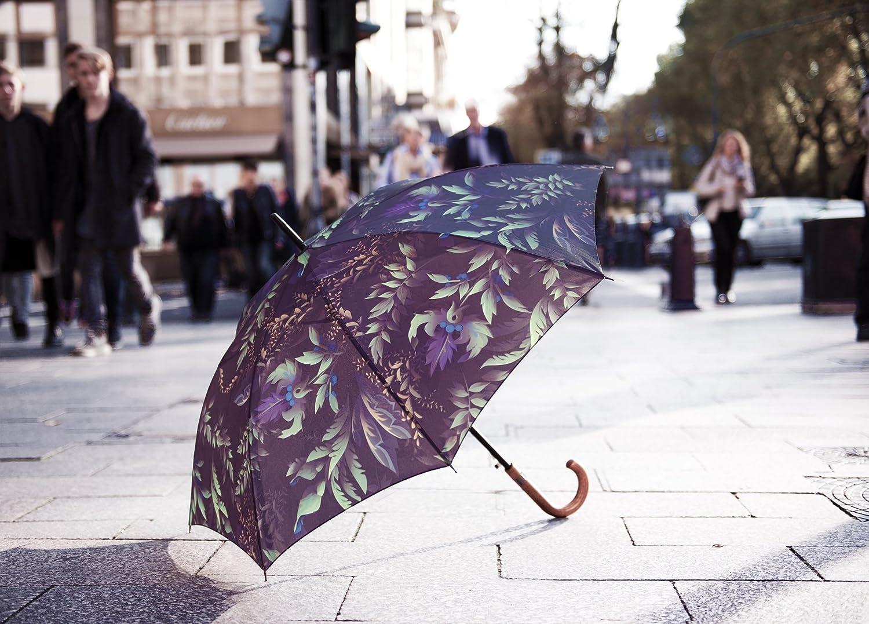 Mod/èle Secret Garden Parapluie cannes Qualit/é Premium MARY SAMS Marque de mode allemande Violet Bleu Vert Multicolore Motif Fleurs Plantes Feuilles