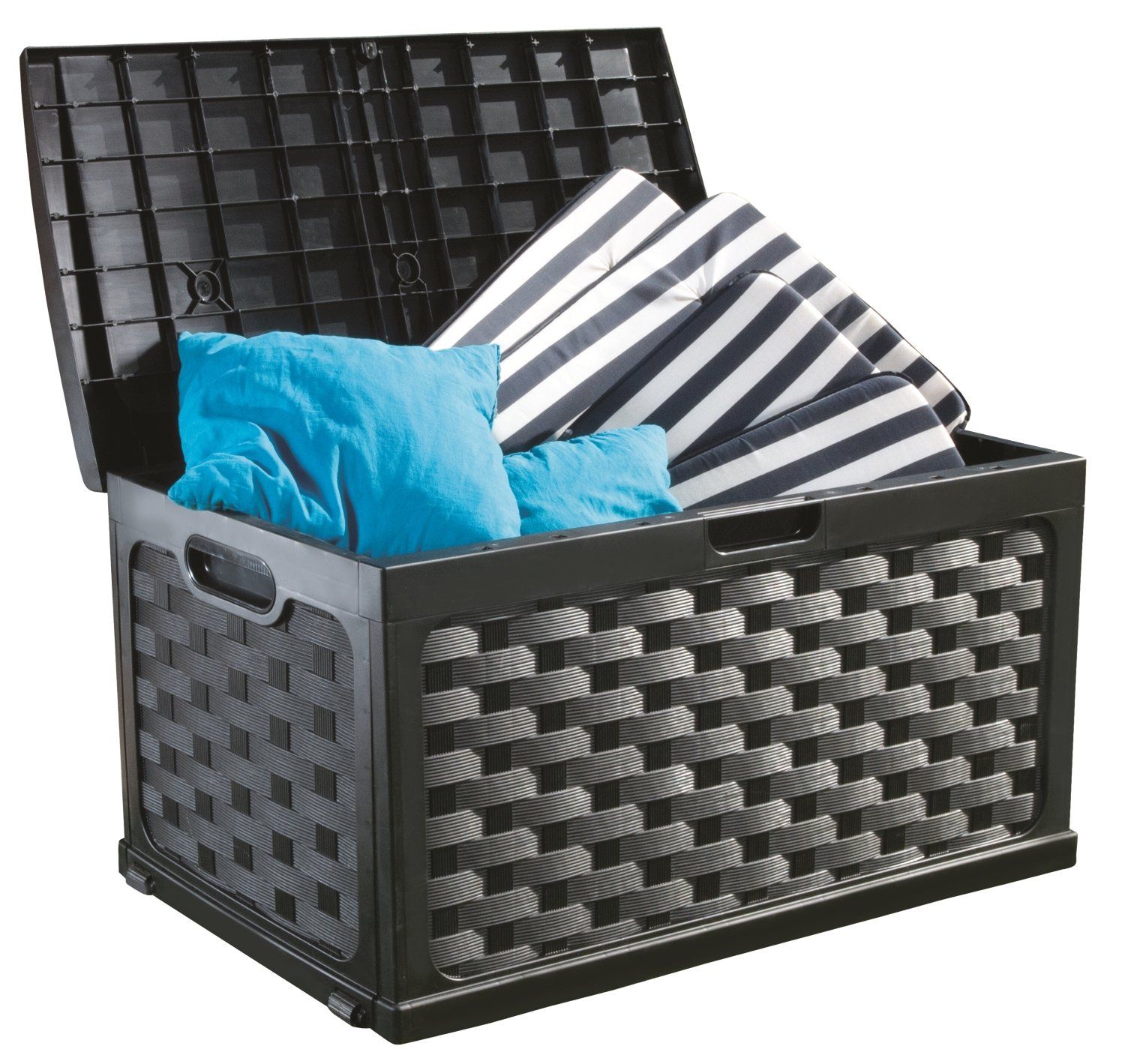 Starplast Rattan Deck Box, 71 gallon, Black/Black 49811