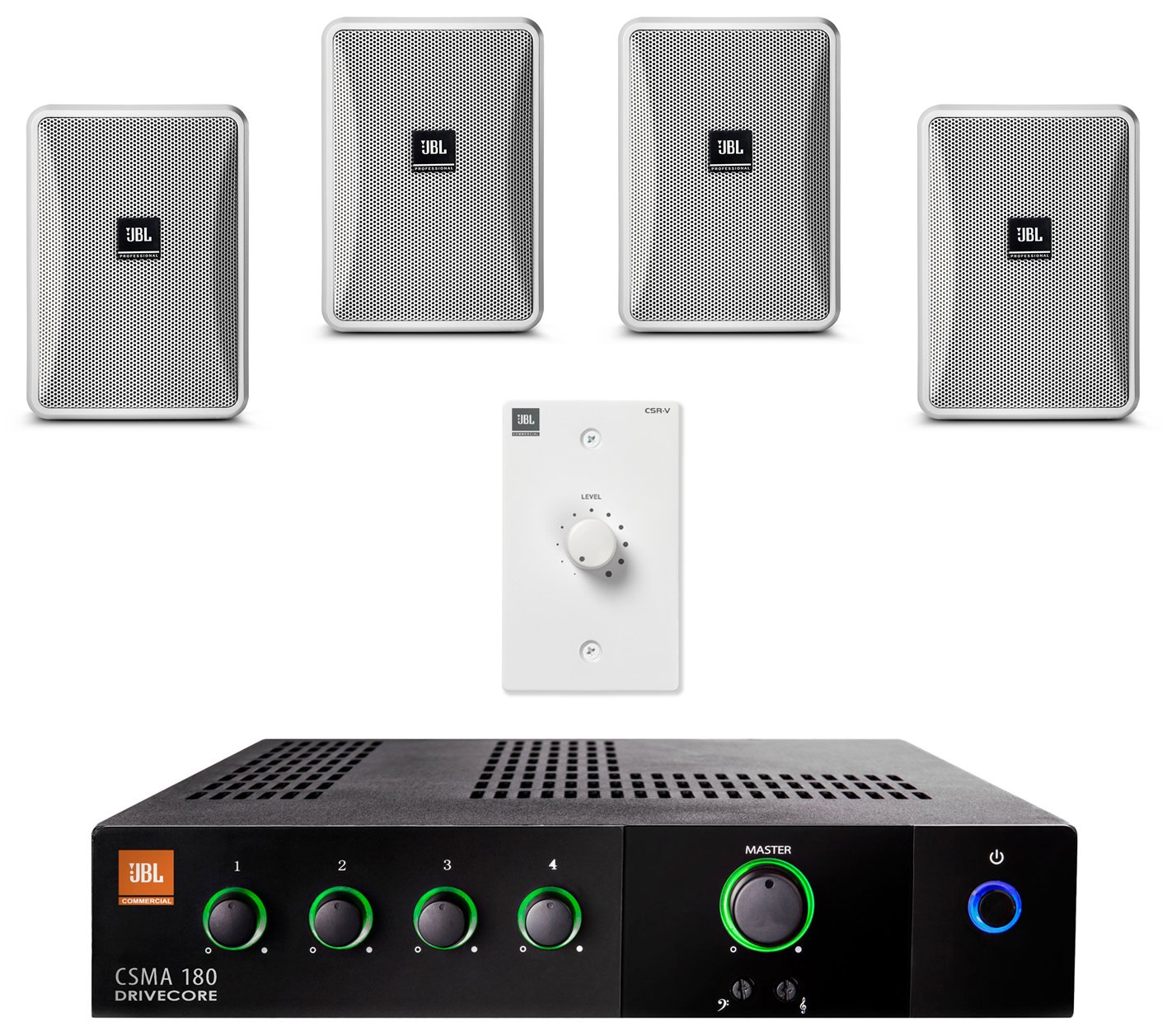 JBL Control 23-1-WH Wall Mount Loudspeaker Bundle with JBL CSMA180 Mixer Amplifier and Accessories - Restaurant Sound System, White (7 Items)