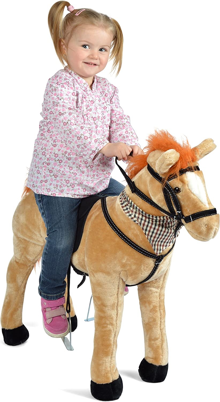 Pink Papaya Cheval-Debout en Peluche - 75 cm - Cheval-Jouet por Enfant Marie