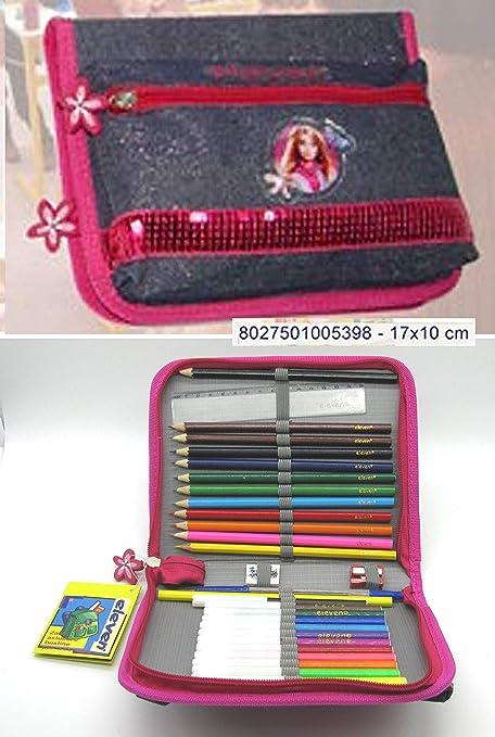 Estuche escolar Teenager doble cremallera con lápices, color scuro: Amazon.es: Oficina y papelería