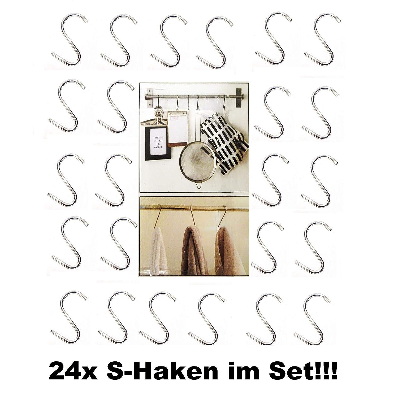 TT 24x S-Haken Metall 5cm K/üchenhaken Universalhaken K/üchen Halter Haken Silber