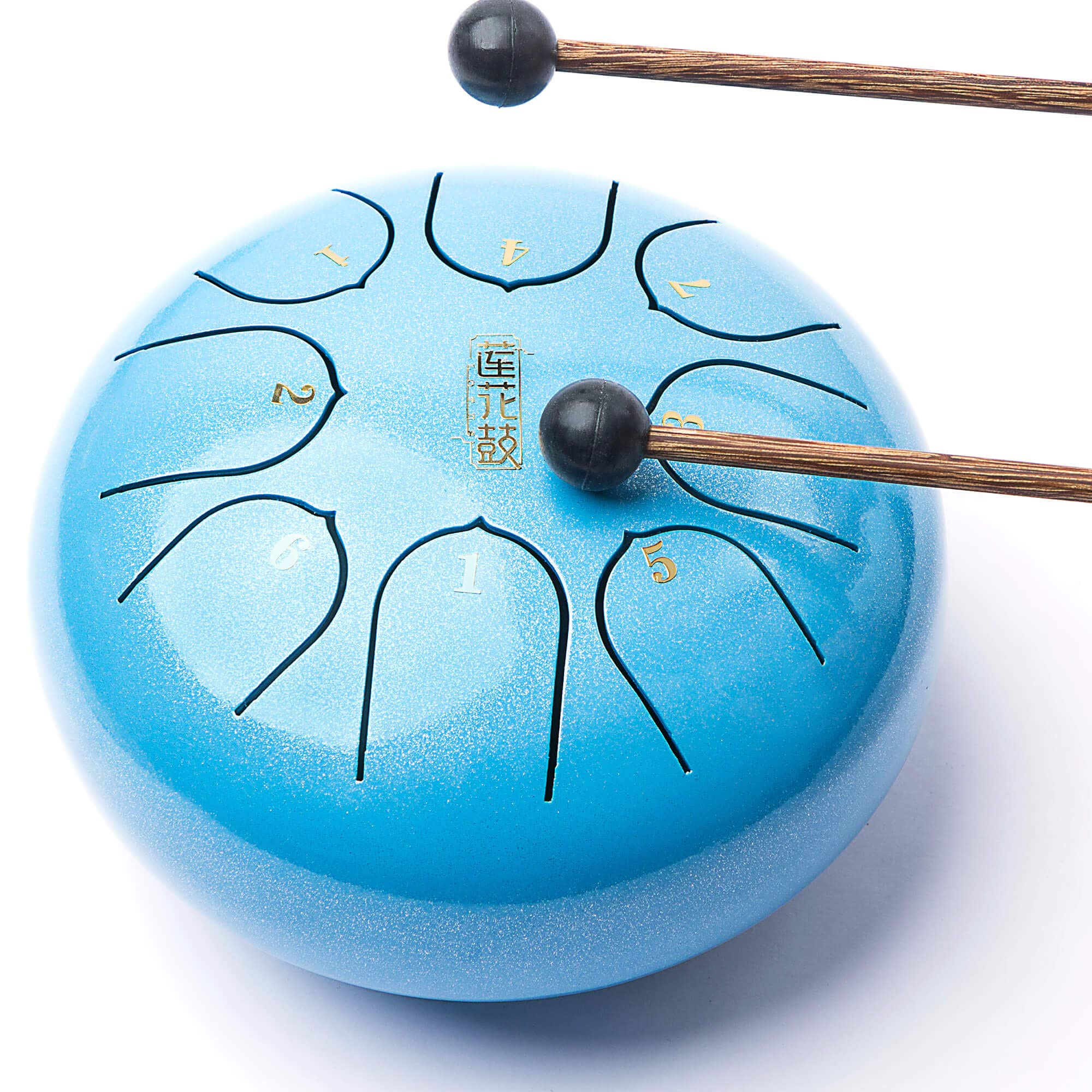 Lronbird Mini Steel Tongue Drum - 8 Notes 6 inches - Kid drum - Percussion Instrument - Handpan Drum with Padded Travel Bag, Book, Mallets, Finger Picks for Music practice and Gift (Blue)