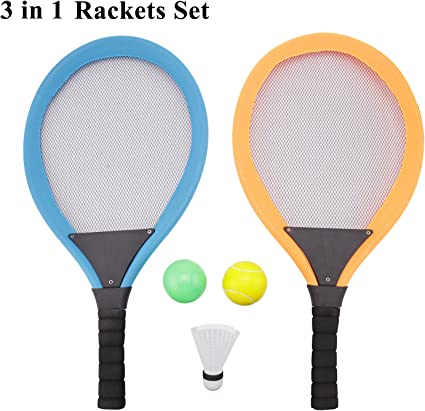 Amazon.com : Messar Soft Badminton Tennis Rackets Set with Balls for Kids,  3 in 1 Badminton Tennis Rackets Balls Set Kids Racket|Racquet Beach Garden  Outdoor Play Game Toy Set for Boys Girls :