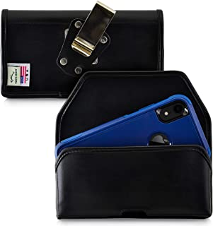 product image for Turtleback Belt Case Designed for iPhone 11 (2019) & XR (2018) Fits with OTTERBOX Commuter, Black Leather Holster Pouch with Heavy Duty Rotating Belt Clip, Horizontal Made in USA