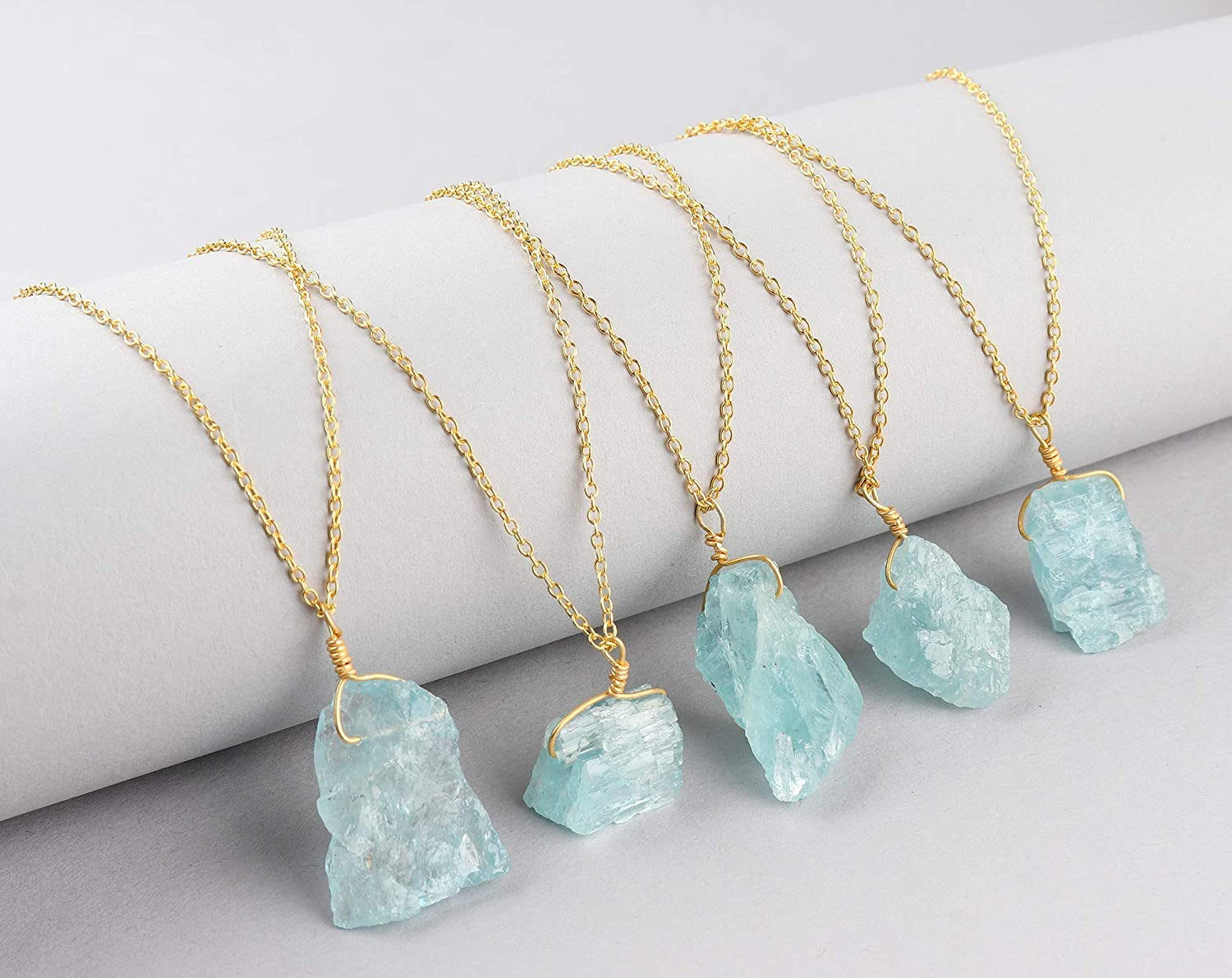 March Birthstone Handmade Crystal Women Dainty Jewelry Raw Aquamarine Pendant Necklace in 14K Gold Filled 925 Sterling Silver Chain 18