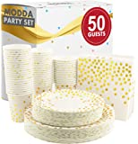 Modda 200Pcs Gold Dot Disposable Paper Plates, Cups, Napkins Set - 50 Dinner and Dessert Plate, 50 Cup and Napkin for…