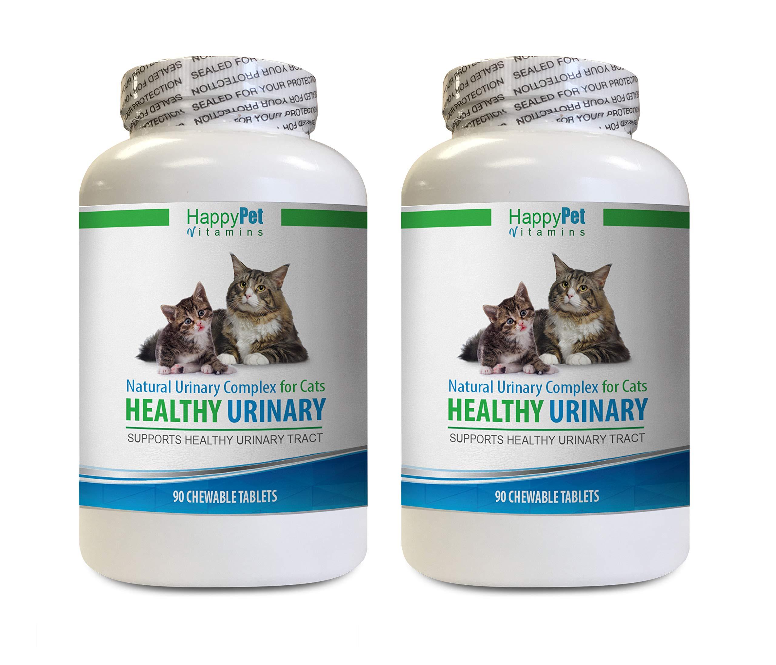 HAPPY PET VITAMINS LLC cat Bladder Strength - CAT Healthy Urinary Complex - UTI Solution - Natural Formula - Anti INFLAMMATORY - cat Urinary Care - 2 Bottles (180 Tablets) by HAPPY PET VITAMINS LLC