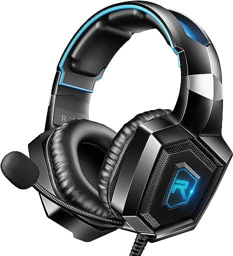 RUNMUS - Auriculares de diadema para juegos compatibles con PS4 ...