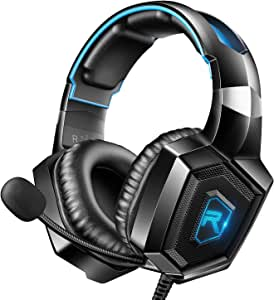 RUNMUS Gaming Headset for PS4, Xbox One, PC Headset w/Surround Sound, Noise Canceling Over Ear Headphones with Mic & LED Light, Compatible with PS4, Xbox One, Switch, PC, PS3, Mac, Laptop