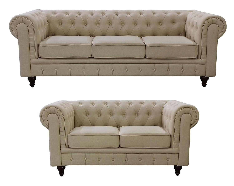 Design Chesterfield Sofa amazon com us pride furniture s5071 l linen fabric chesterfield sofa set beige kitchen dining