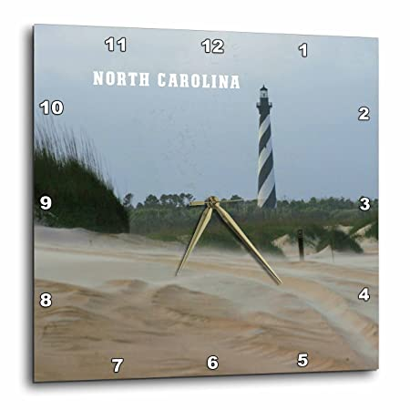 3dRose DPP_80422_1 View of Cape Hatteras Lighthouse on Outer Banks-Wall Clock, 10 by 10-Inch