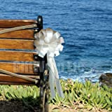 """White Pull Bows with Tails - 8"""" Wide, Set of 6"""