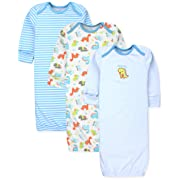 Maybe Baby Kids Infant Boys' and Girls' 3 Pack Set Cotton Baby Gowns w/Mitten Cuffs & Easy Change Expandable Shoulders, 0-6 Months, Dinosaur