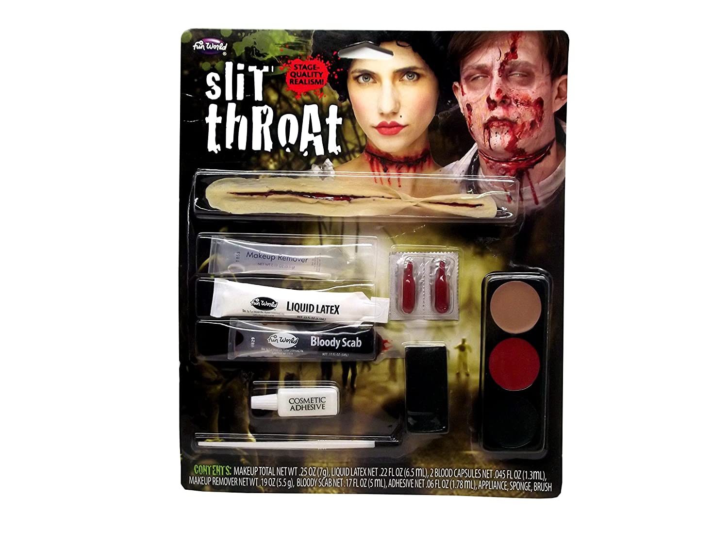 Slit Throat Makeup Kit Costume Appliance F