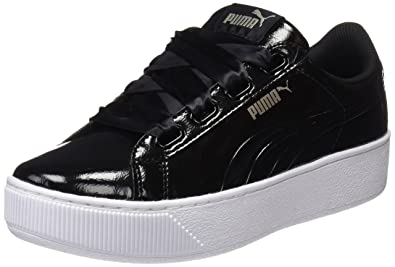 Womens Vikky Platform Ribbon S Low-Top Sneakers, Black Black, 3.5 UK Puma