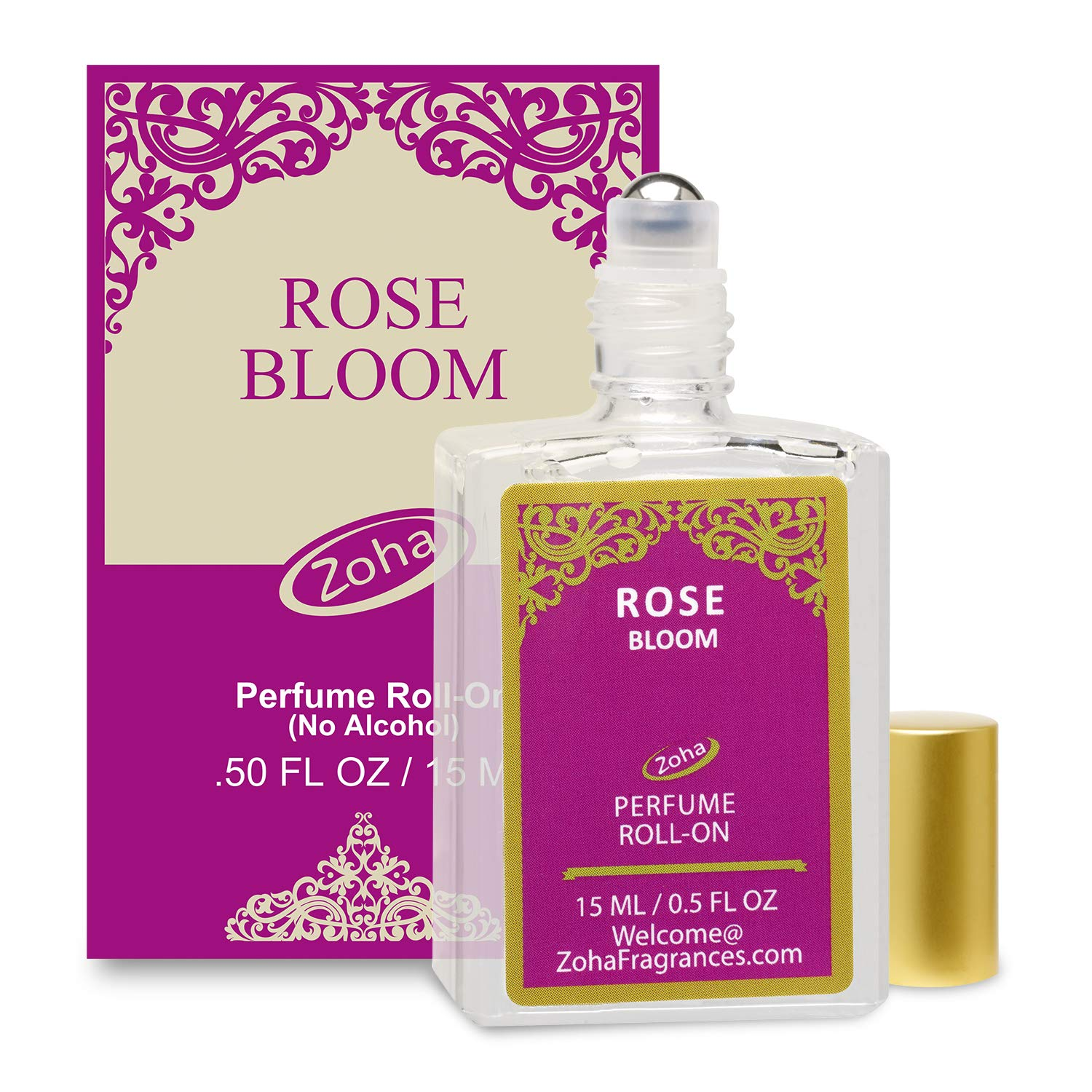 Rose Bloom Perfume Oil Roll-On (No Alcohol) - Essential Oils and Clean Beauty Hypoallergenic Vegan Perfumes for Women and Men by Zoha Fragrances, 15 ml / 0.50 fl Oz
