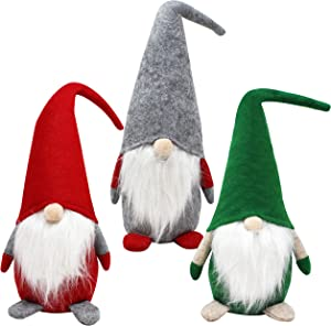 JOYIN 3PCS Christmas Gnome Swedish Santa Tomte Plush Red Green Grey Gnome with Tabletop for Christmas Decoration
