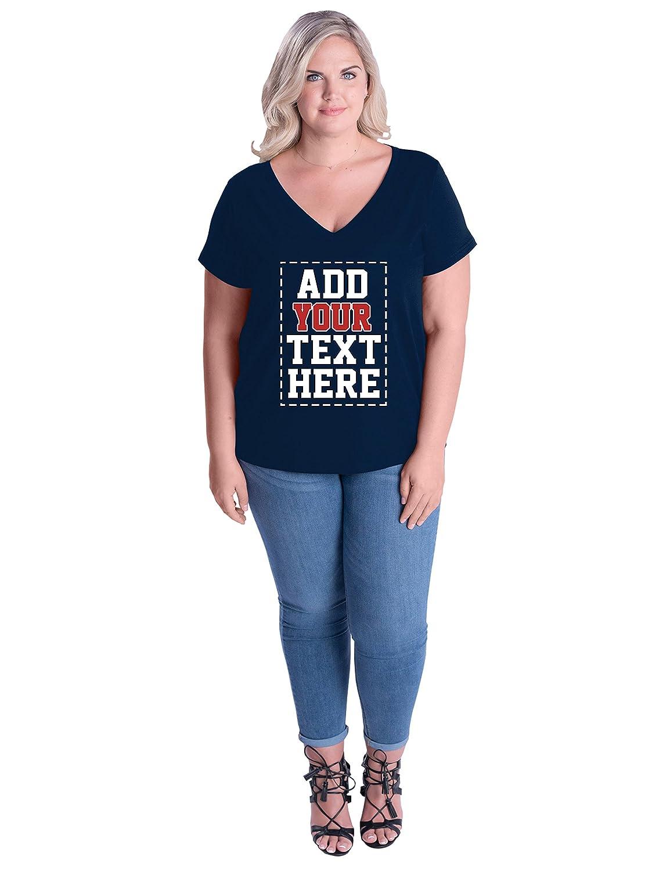 Amazon Custom Plus Size V Neck Womens T Shirts Design Your