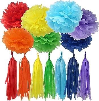 Amazon.com: Bobee Arco iris decoración de fiesta 42 piezas ...