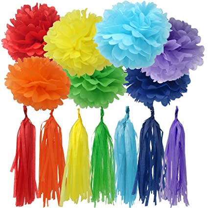 Amazon Bobee Rainbow Party Decorations 42 Piece DIY Pom Poms And Tassel Garland Toys Games
