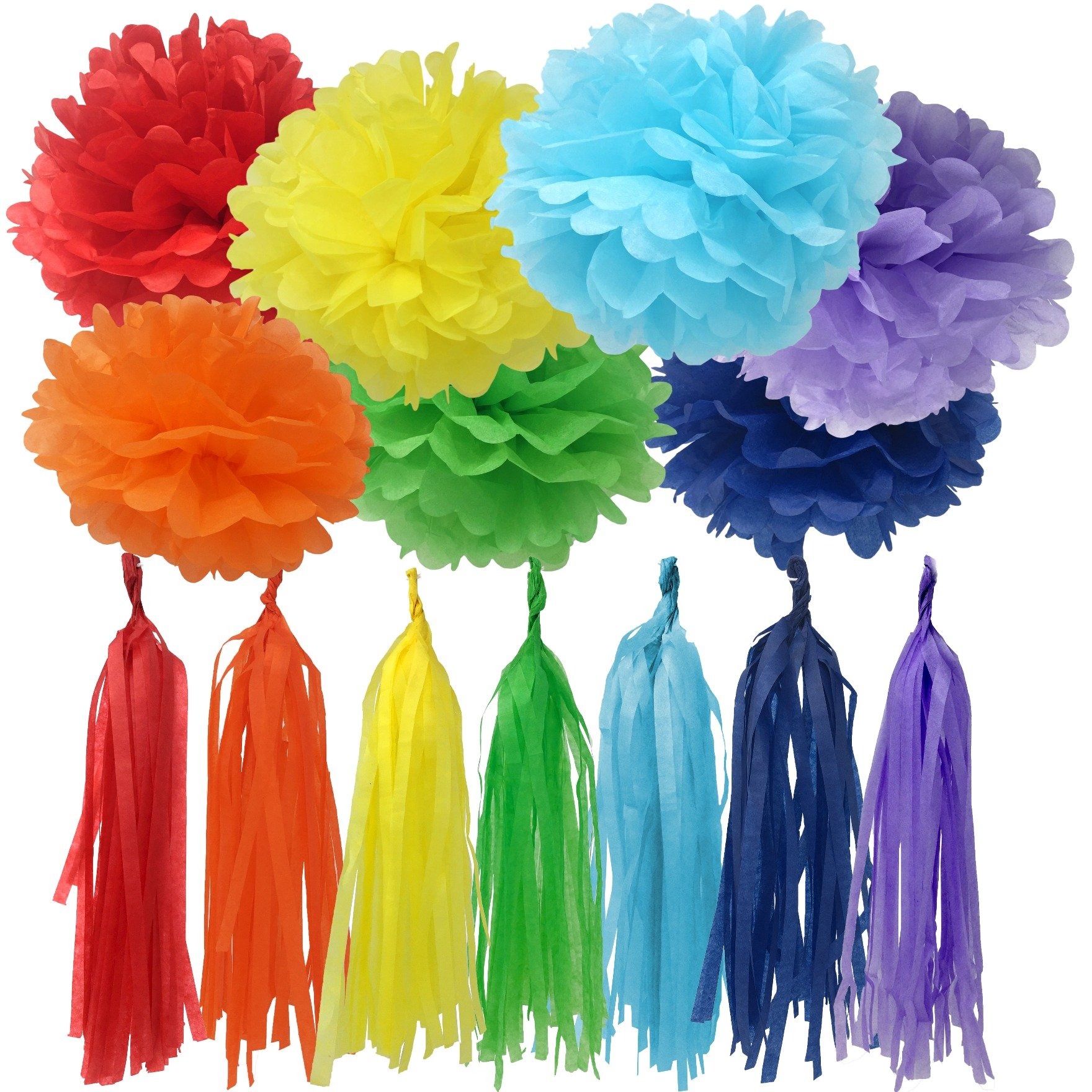 Bobee Rainbow Party Decorations 42 Piece Rainbow DIY Pom Poms and Tassel Garland