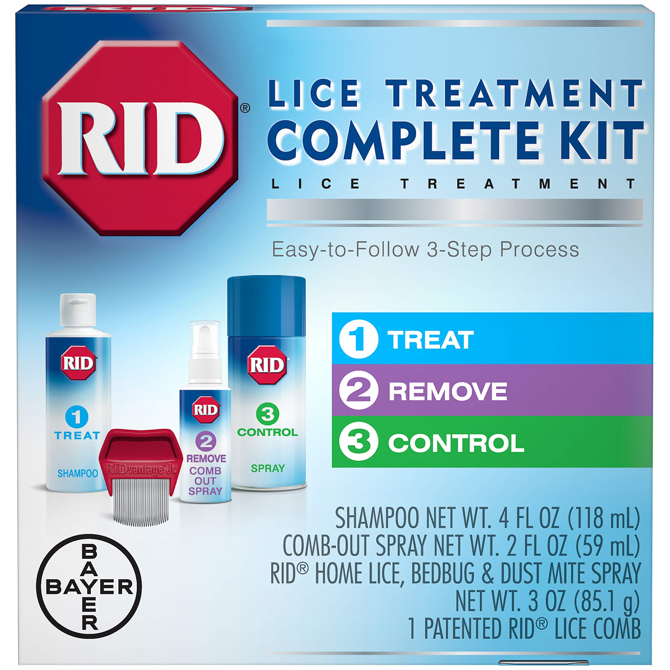 RID Lice Treatment Complete Kit, Includes 4 Fluid Ounces RID Lice Killing Shampoo, 2 Fluid Ounces Lice and Egg Comb-Out Spray, Lice Comb, and 3 Ounces RID Home Lice, Bedbug & Dust Mite Home Spray by Rid