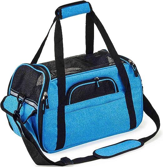 Petcomer Transportín para Perros Y Gatos Portador del Mascota Bolsa de Malla Transpirable de Viaje Bolso de Hombro (Azul, S-41.5x20x29cm): Amazon.es: Productos para mascotas