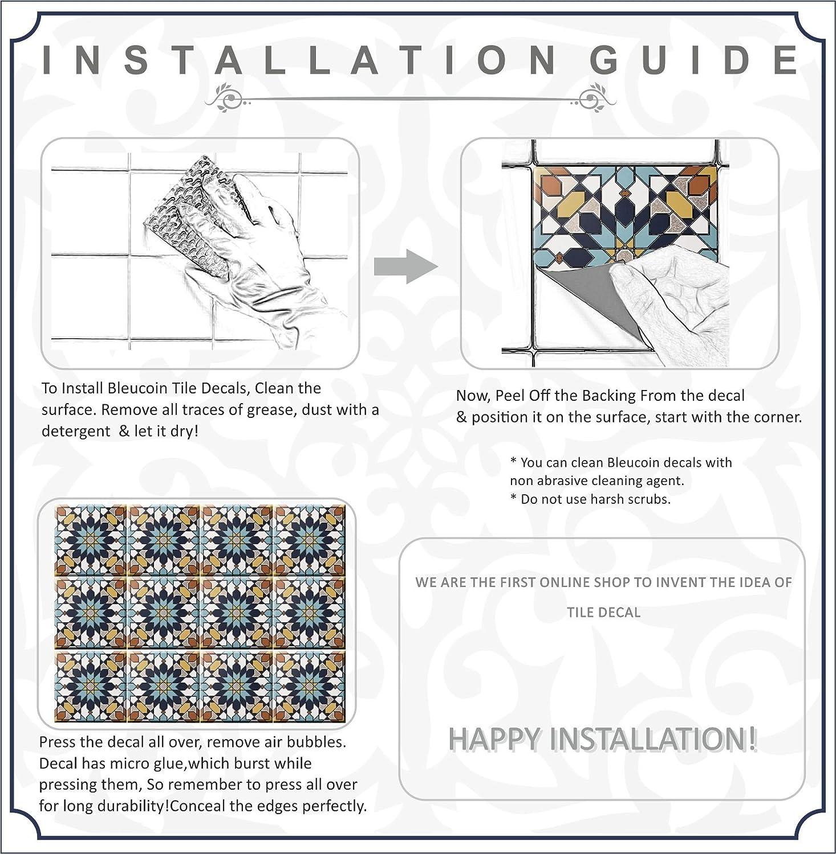 Encaustic Moroccan Kitchen Bathroom Tile Stickers, Stair riser Vinyl ...