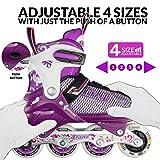 Crazy Skates Adjustable Inline Skates with Light Up Wheels - Roller Blades for Girls - Purple Large