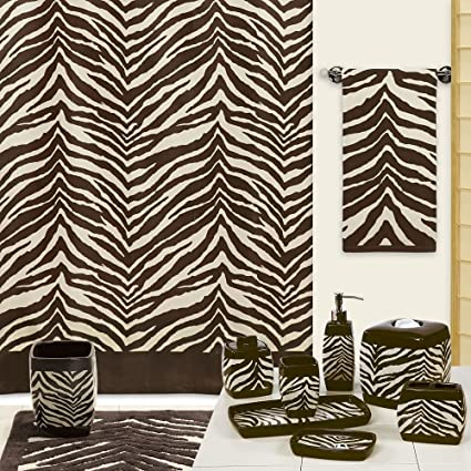 DS BATH Zebra Shower CurtainMildew Resistant Polyester Fabric CurtainPrint Chocolate