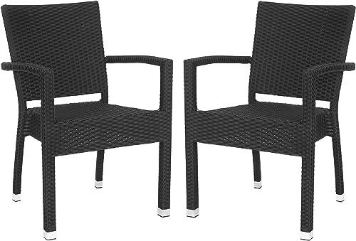 Safavieh Outdoor Living Collection Kelda Wicker Arm Chairs