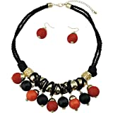 BOCAR 2 Layer Statement Chunky Red Black Beaded Fashion Collar Necklace Earring Set for Women Gifts