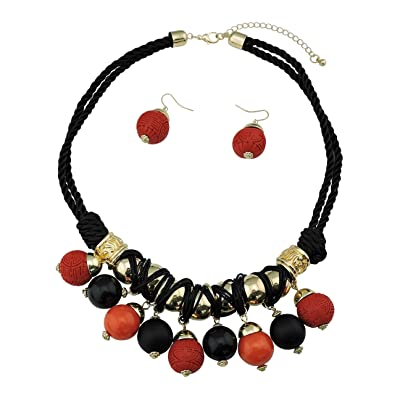 BOCAR Fashion Long Chunky Cryastl Beads Necklace and Earrings Set for Women Gift m3uQR