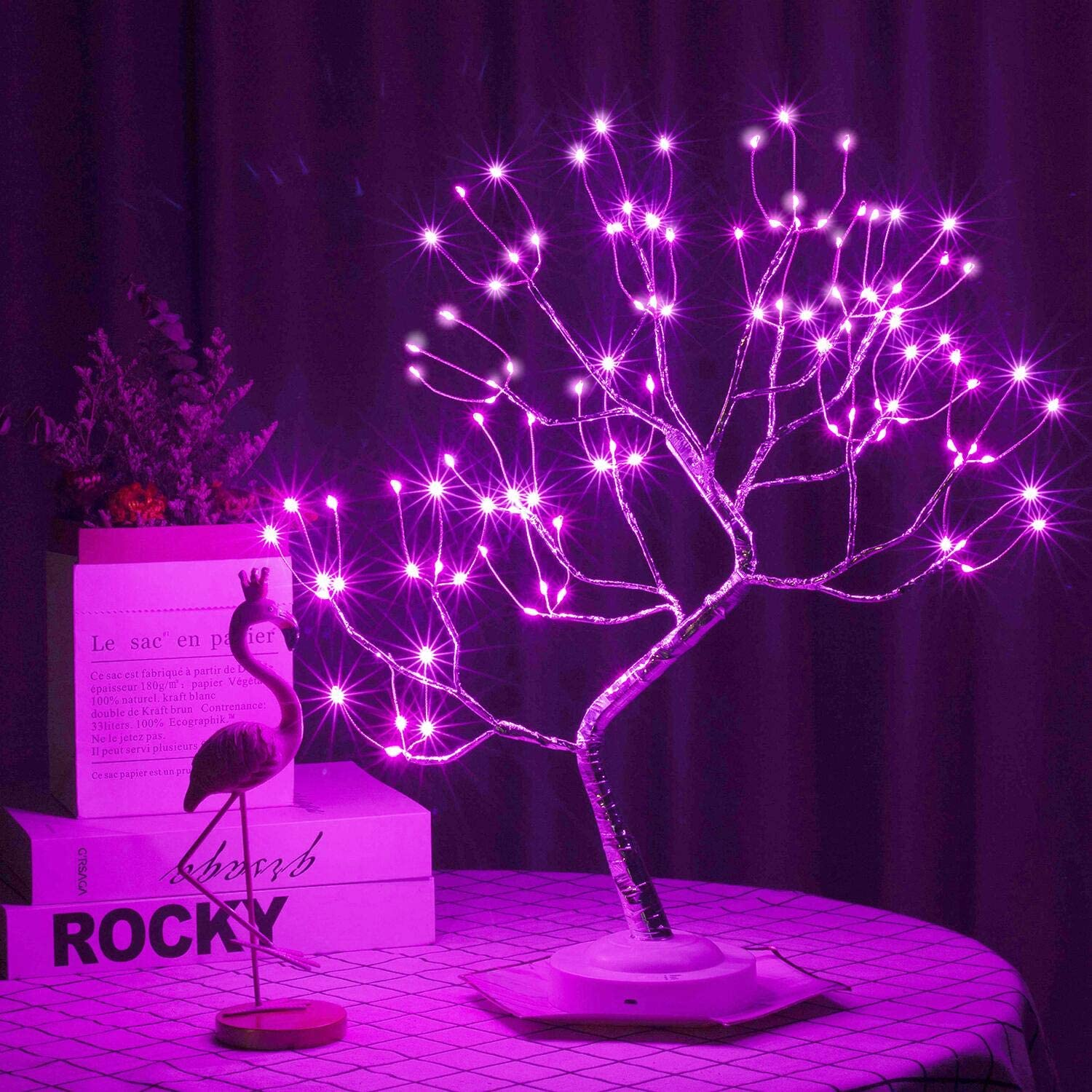 Led Tabletop Bonsai Tree Light 20 Inch 108 LED Copper Wire Halloween Christmas Night Light, Battery/USB Operated, 6h Timer DIY Adjustable Branches, for Home Decoration Light and Gift (Pink)