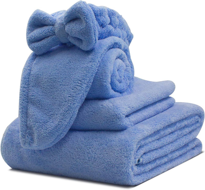 Kytree Bath Towel Wrap for Women's Microfiber Shower Towel Wraps Bathrobe - Spa, Shower, and Gym Towel and Dry Hair Towels 4-Piece Set (Blue)