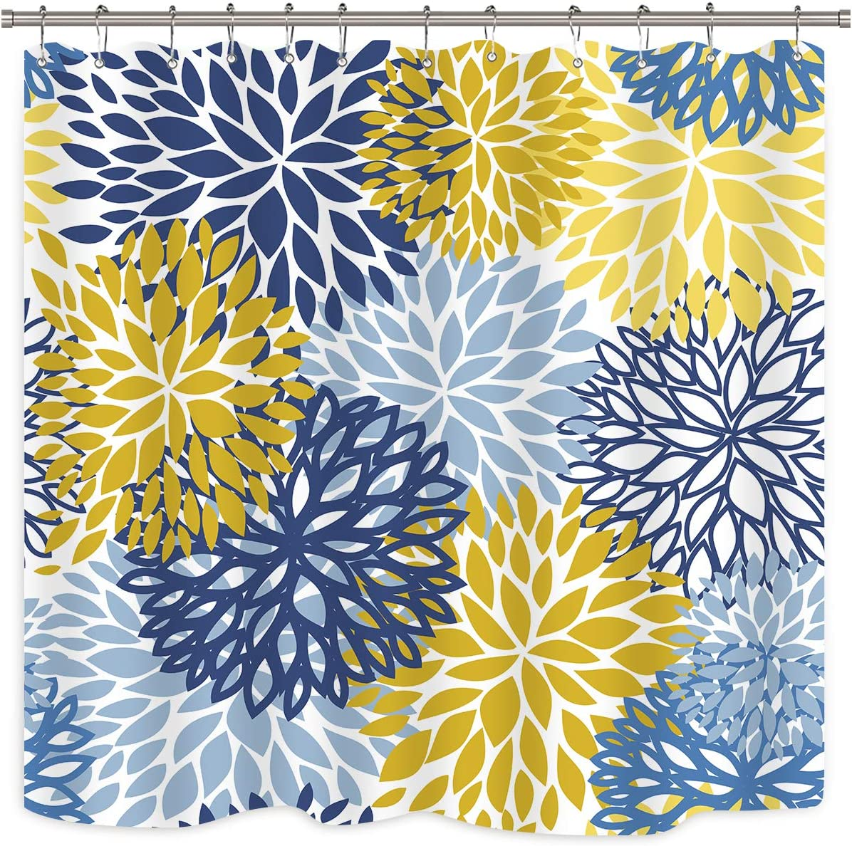 Riyidecor Blue and Yellow Floral Dahlia Shower Curtain Chrysanthemum Rustic Decor Set Fabric Waterproof Polyester 72Wx72H Inch Plastic 12 Pack Hooks